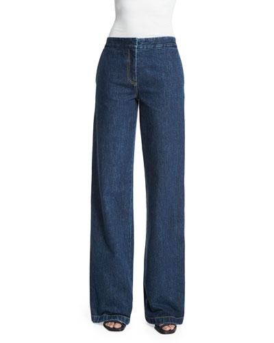 Flat-Front Wide-Leg Jeans, Indigo