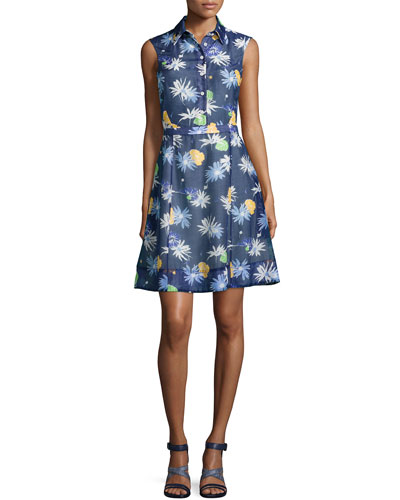 Floral-Sweet Sleeveless Shirtdress, Navy Multi