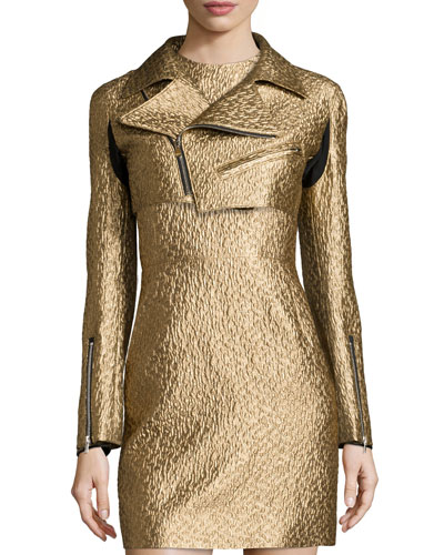 Metallic Cropped Moto Jacket, Gold