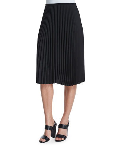 Micro-Pleated A-Line Skirt, Black