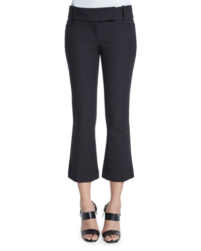 Flare-Leg Cropped Pants, Black