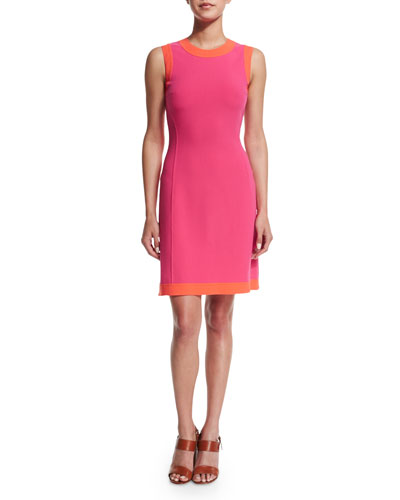 Sleeveless Two-Tone A-Line Dress, Watermelon