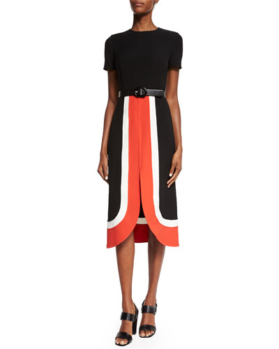 Short-Sleeve Colorblock Midi Dress, Coral