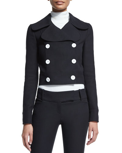 Battle Double-Breasted Cropped Jacket, Black