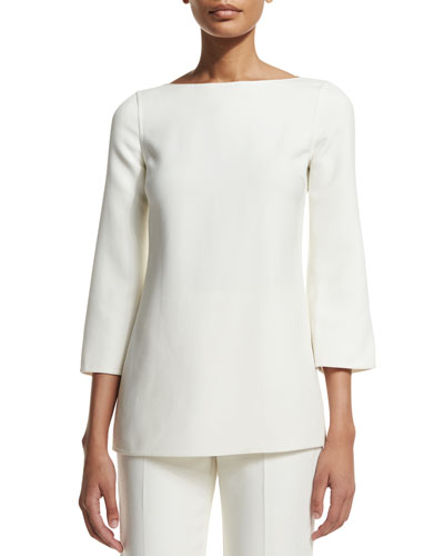 3/4-Sleeve Boat-Neck Tunic, White