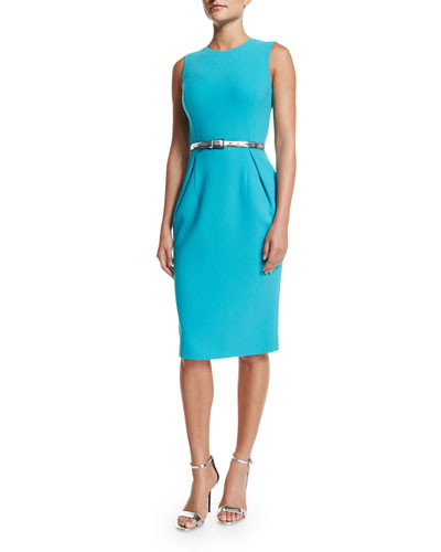 Sleeveless Pleated-Front Sheath Dress, Aqua