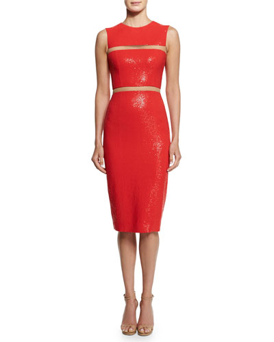 Embellished Cady Illusion Sheath Dress, Coral