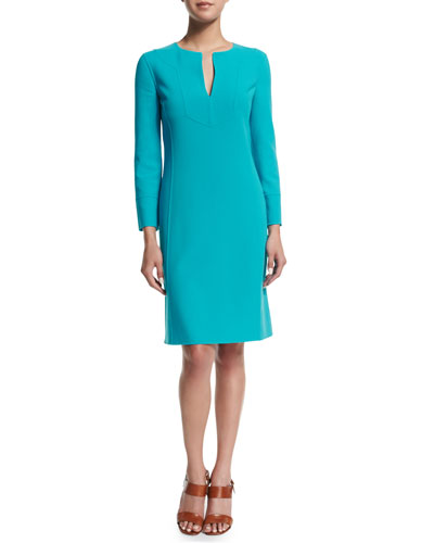 Long-Sleeve Split-Neck Tunic Dress, Aqua