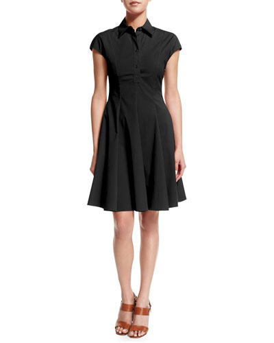 Cap-Sleeve Fit-&-Flare Shirtdress, Black