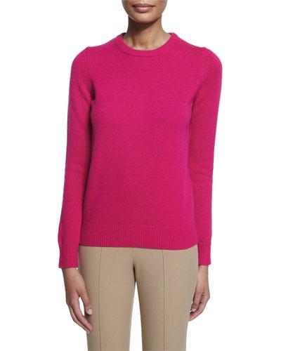 Long-Sleeve Jewel-Neck Cashmere Sweater, Geranium