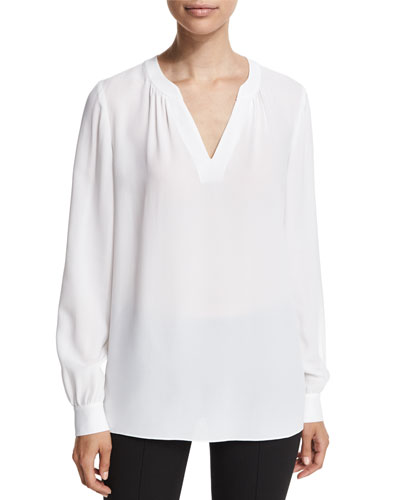 Slit-Neck Silk Blouse, White