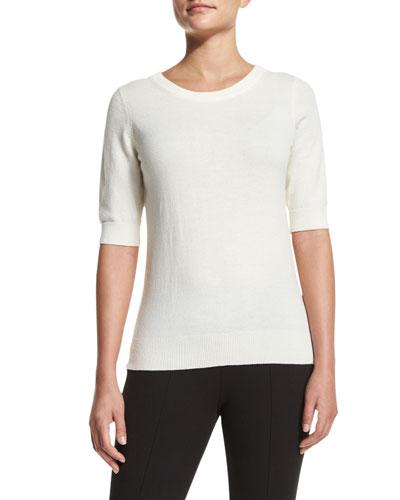 Elbow-Sleeve Jewel-Neck Cashmere Top, White