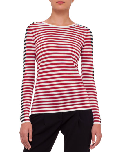 Striped Colorblock Sweater, Cream/Cherry