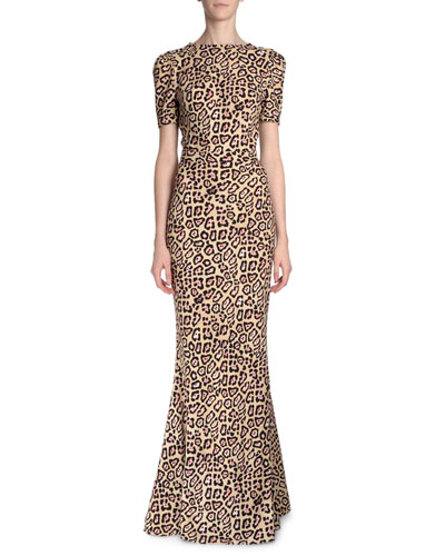 Short-Sleeve Jaguar-Printed Gown, Pink