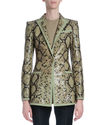 Snake-Embossed Leather Jacket, Green Multi