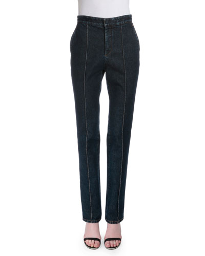 High-Waist Slim-Leg Jeans, Denim