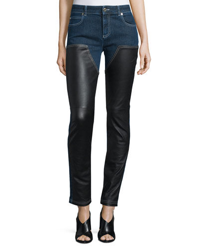 Skinny Ankle Jeans W/Leather Front, Denim