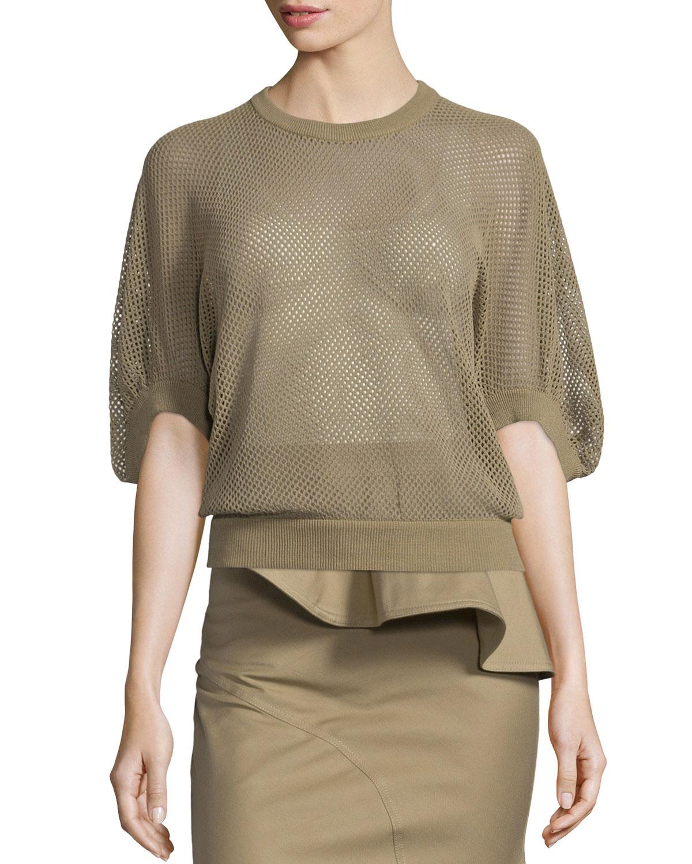 Half-Sleeve Mesh Victorian Pullover Top, Beige