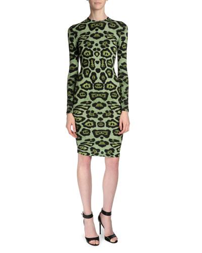 Long-Sleeve Jaguar-Print T-Shirt Dress, Green