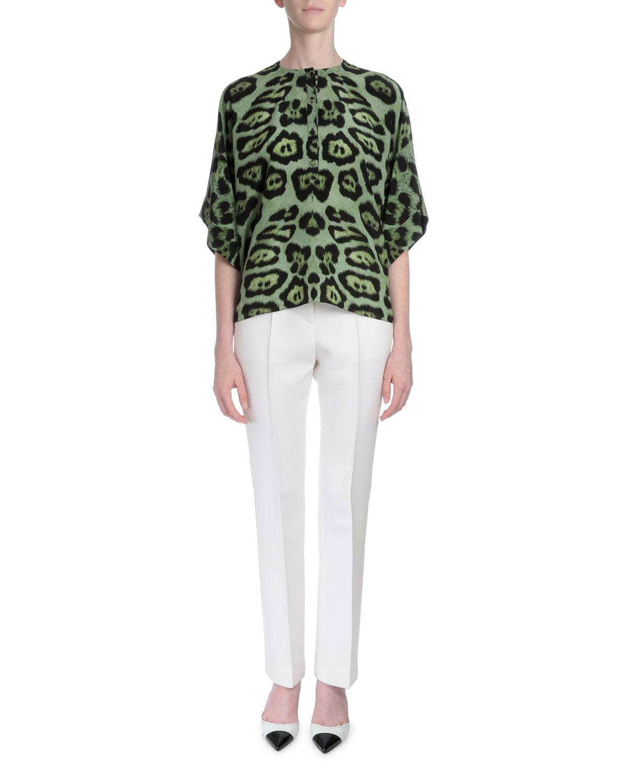 Animal-Print Kimono-Sleeve Blouse, Green