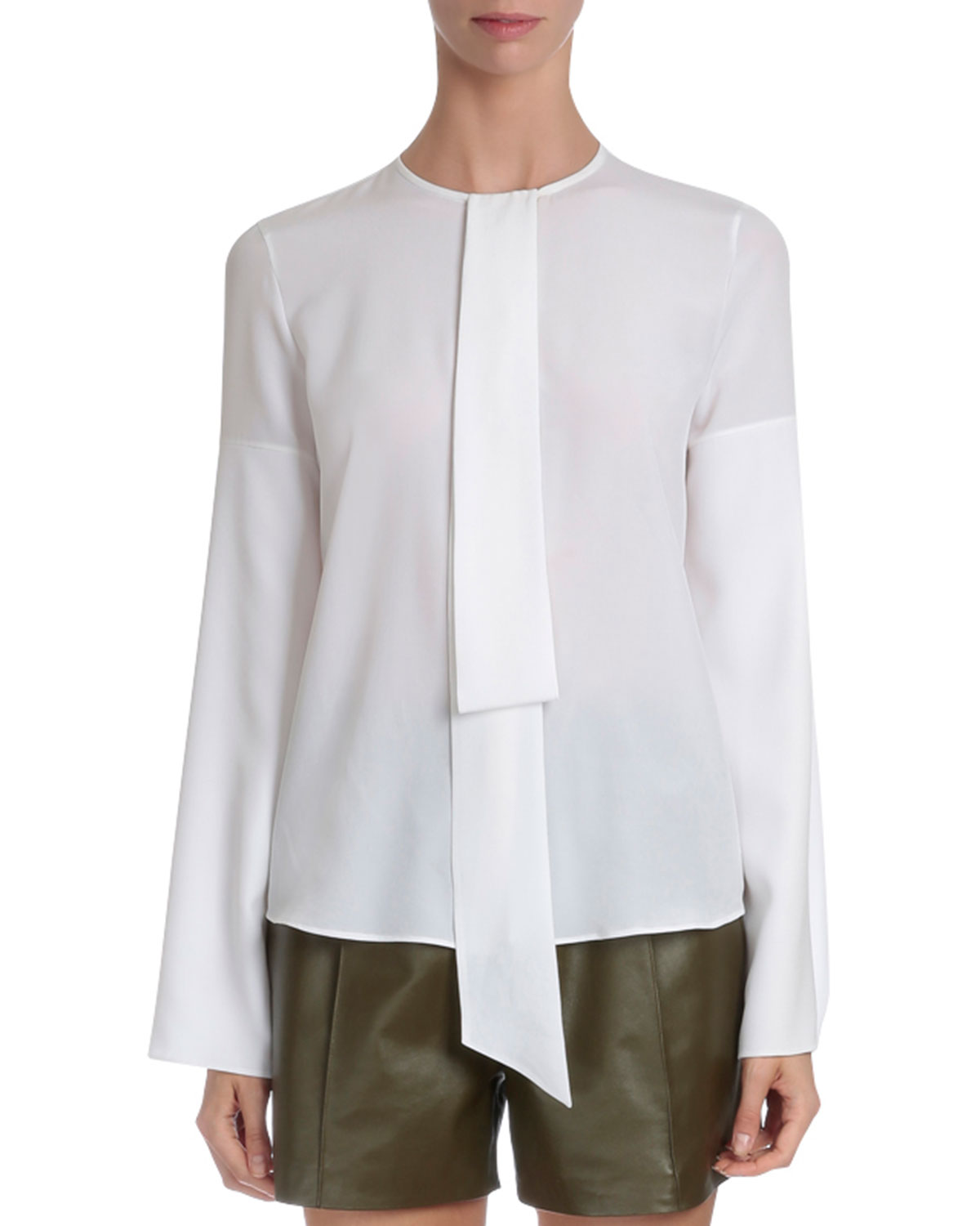 Tie-Neck Cape-Sleeve Blouse, White