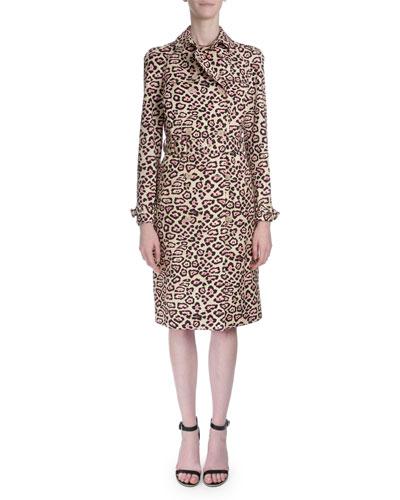 Jaguar-Print Belted Trenchcoat, Pink