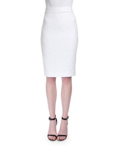 High-Waist Lace Pencil Skirt, White