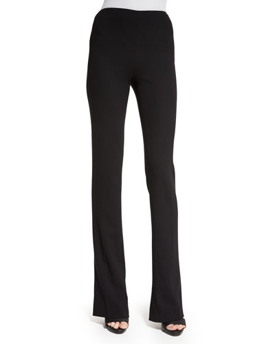 High-Waist Boot-Cut Pants, Black