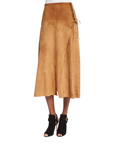 Lace-Up Suede A-Line Skirt, Caramel