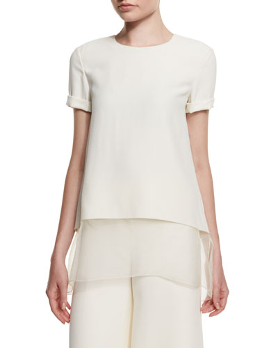 Layered-Hem Short-Sleeve Top, Cream