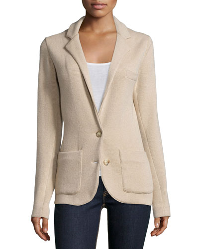 Cashmere Two-Button Jacket, Light Tan/Caramel