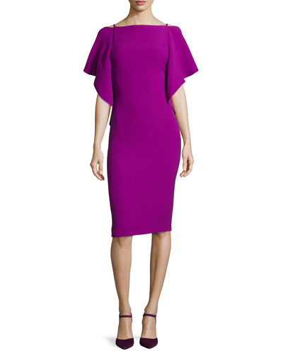 Flutter-Sleeve Scoop-Back Dress, Berry