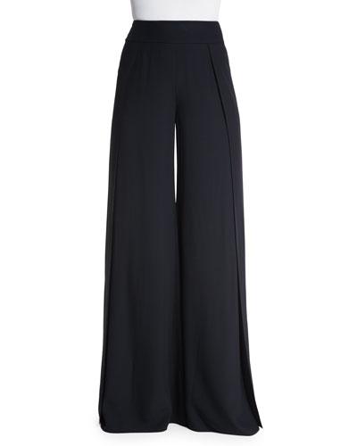 Wide-Leg High-Waist Pants, Black