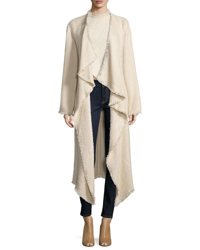 Draped-Front Long Coat, Blonde