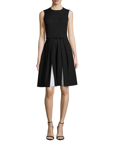 Sleeveless Two-Tone Cady Dress, Black/Optic White