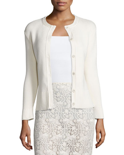 Long-Sleeve Snap-Front Cardigan, Cream