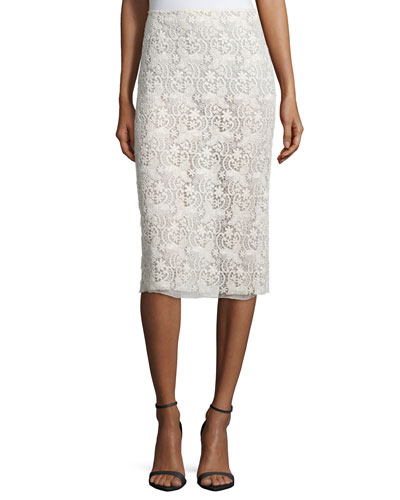 Guipure-Lace Pencil Skirt, Cream