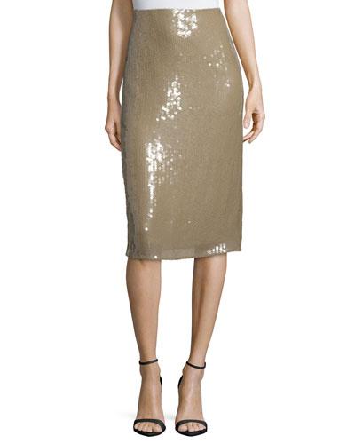 Embellished Below-Knee Pencil Skirt, Sage Beige