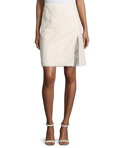 Faux-Wrap Pencil Skirt, White