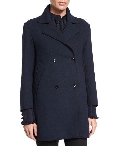 Double-Breasted Long-Sleeve Coat, Dark Navy