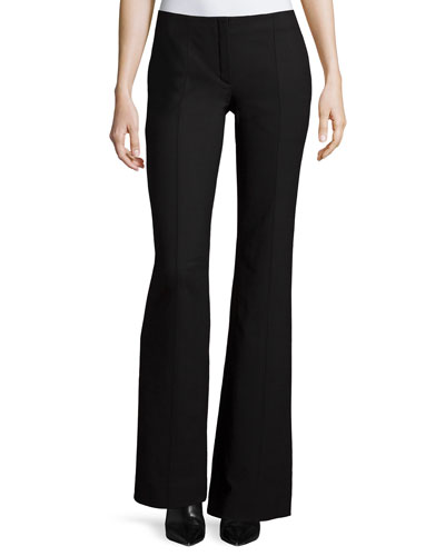 Low-Rise Boot-Cut Pants, Black