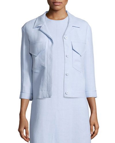 3/4-Sleeve Button-Front Jacket, Oxford Blue