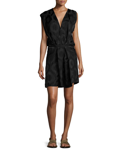 Sleeveless Wrap Dress, Black