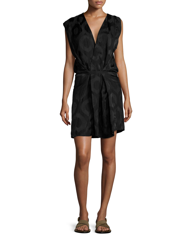Sleeveless Wrap Dress, Black