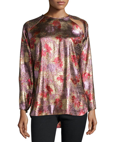 Fireworks Metallic Tunic Blouse, Antique Pink