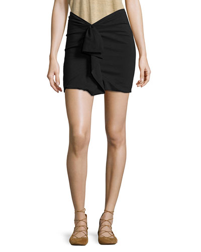 Ruffled Linen-Stretch Jersey Mini Skirt, Black
