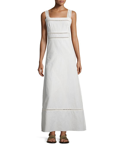 Long Linen/Cotton Shoulder-Tie Dress, Chalk