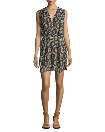 Sleeveless Laser-Cut Wrap Dress, Yellow