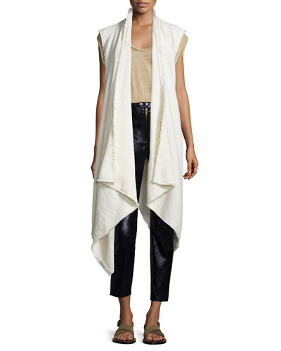 Open-Front Draped Cozy Vest, Ecru