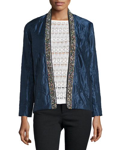 Bead-Embellished Quilted Cotton/Silk Jacket, Midnight